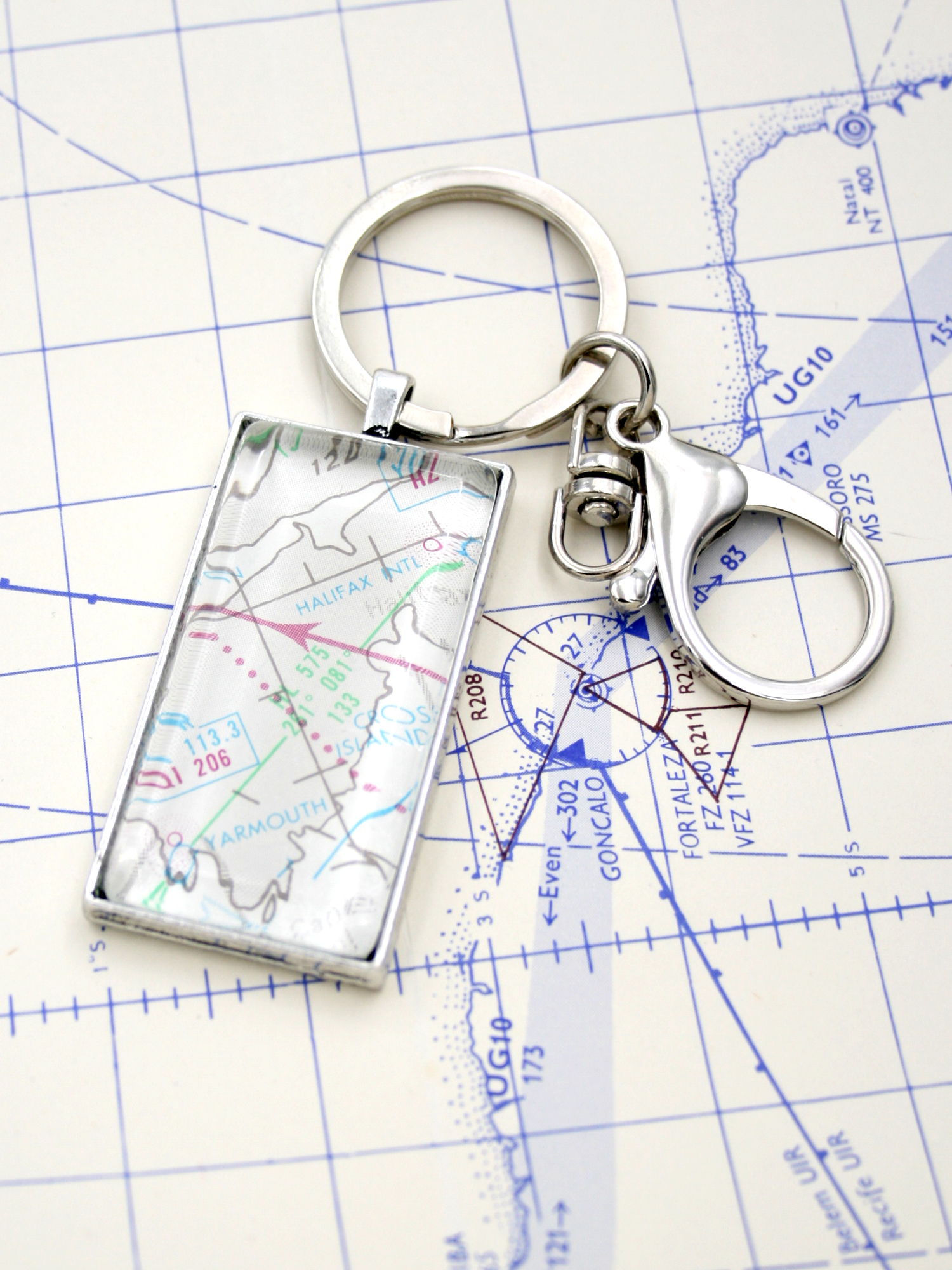 aviation keychain with custom airport map