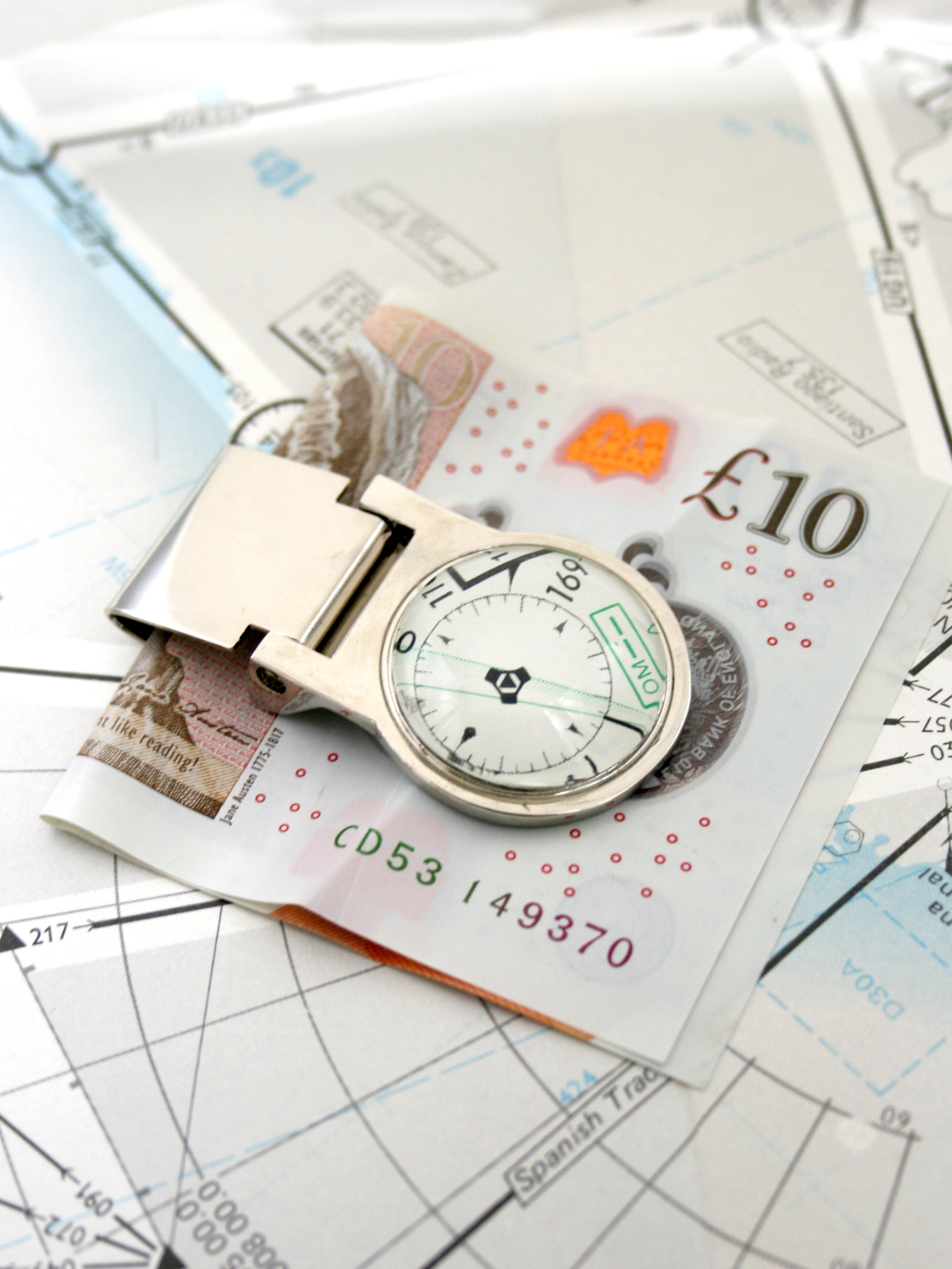 personalized money clip with aeronautical charts