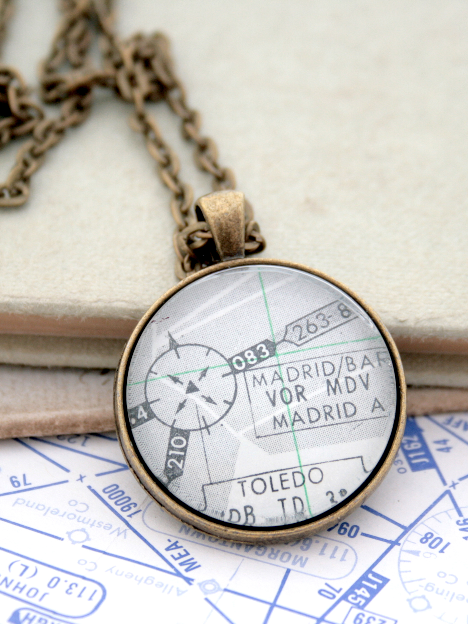 aviation lover necklace with custom airport from aeronautical chart