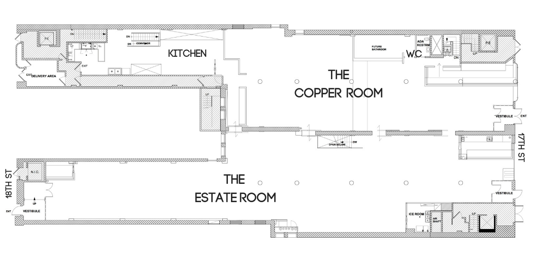 Main Floor  Entrances on both 17th and 18th Streets   * WC represents restrooms