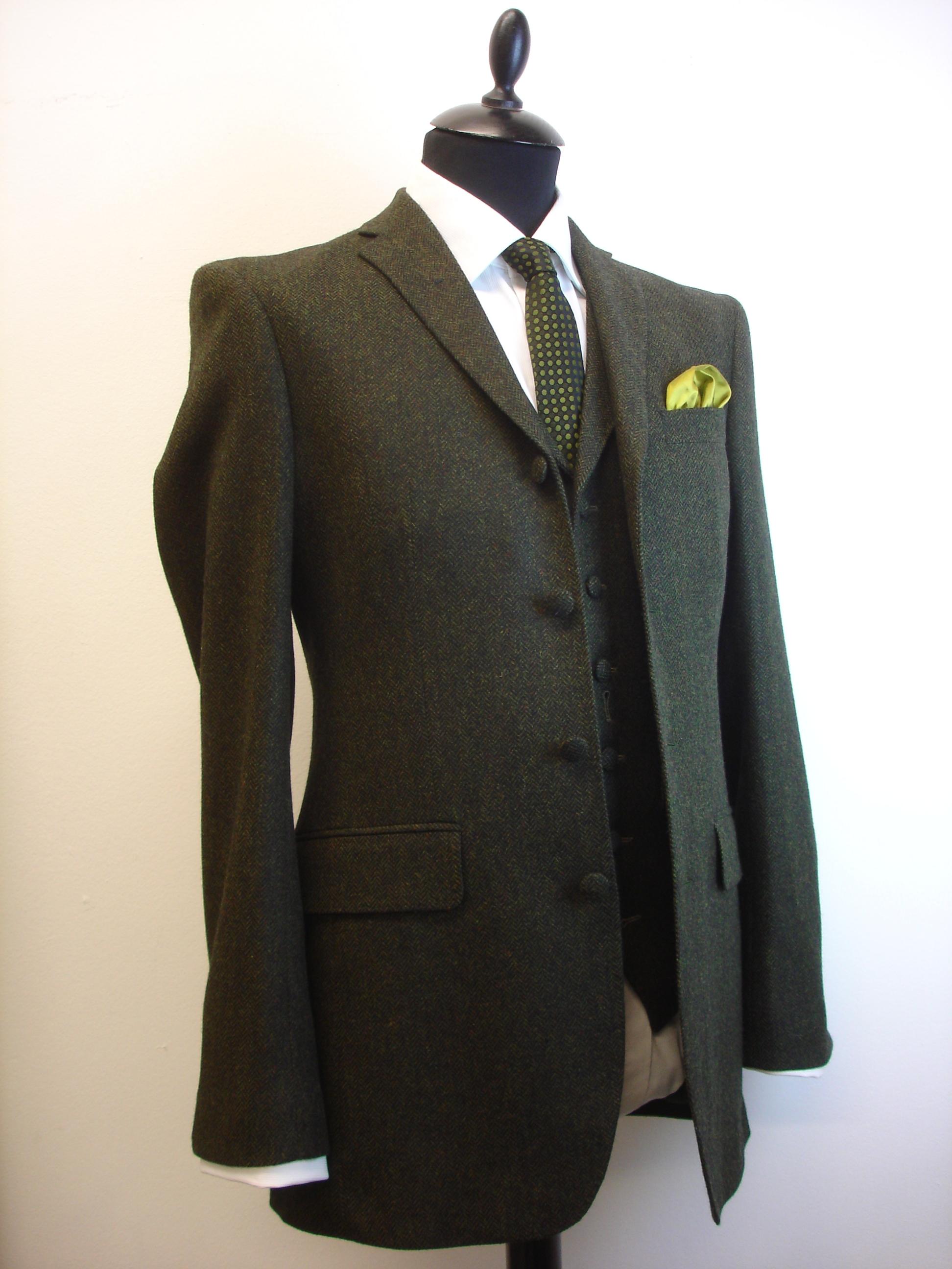 3 piece green lambswool herringbone tweed suit (8).JPG