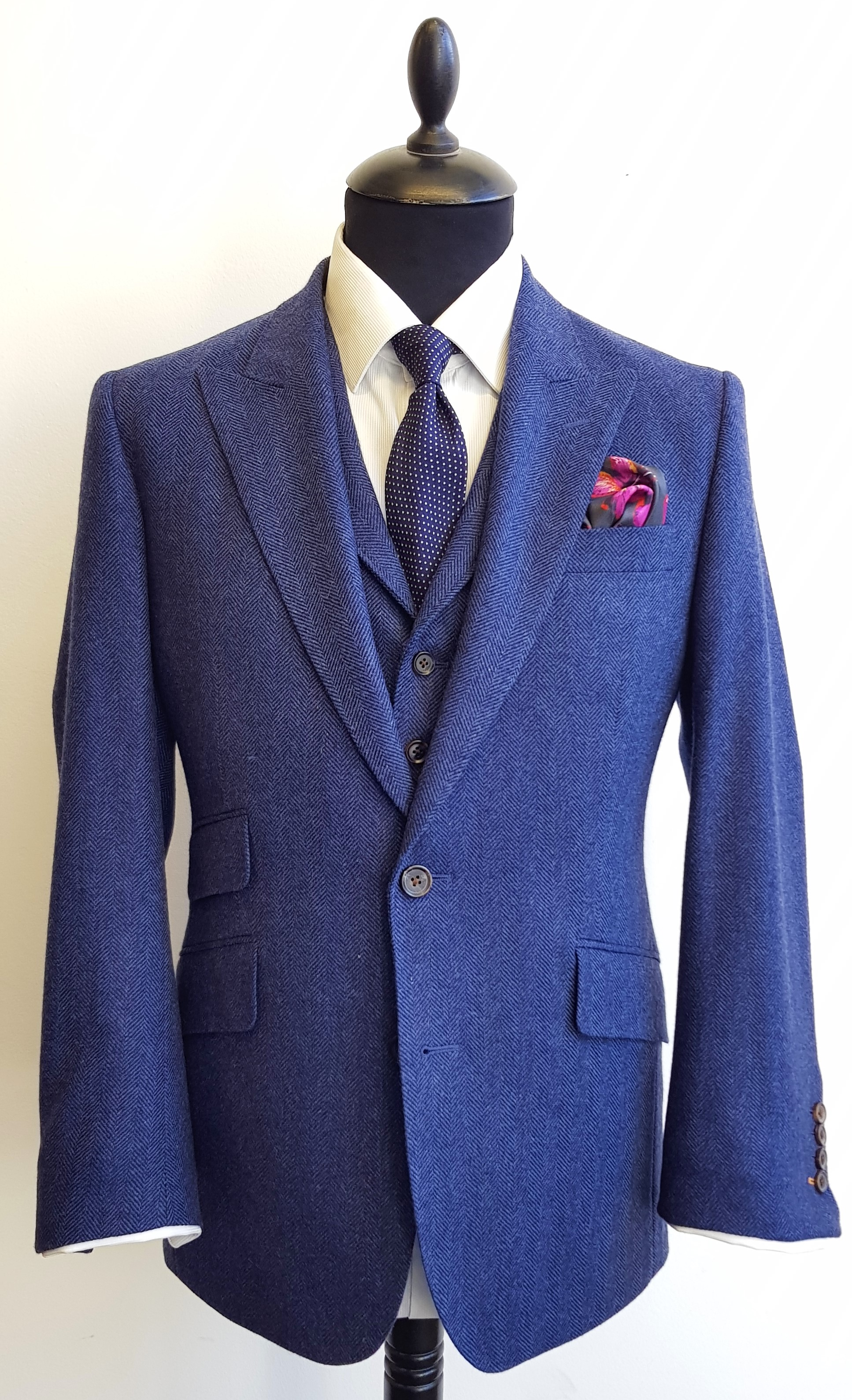 Blue Merino Herringbone 3 Piece Tweed Suit (4).jpg