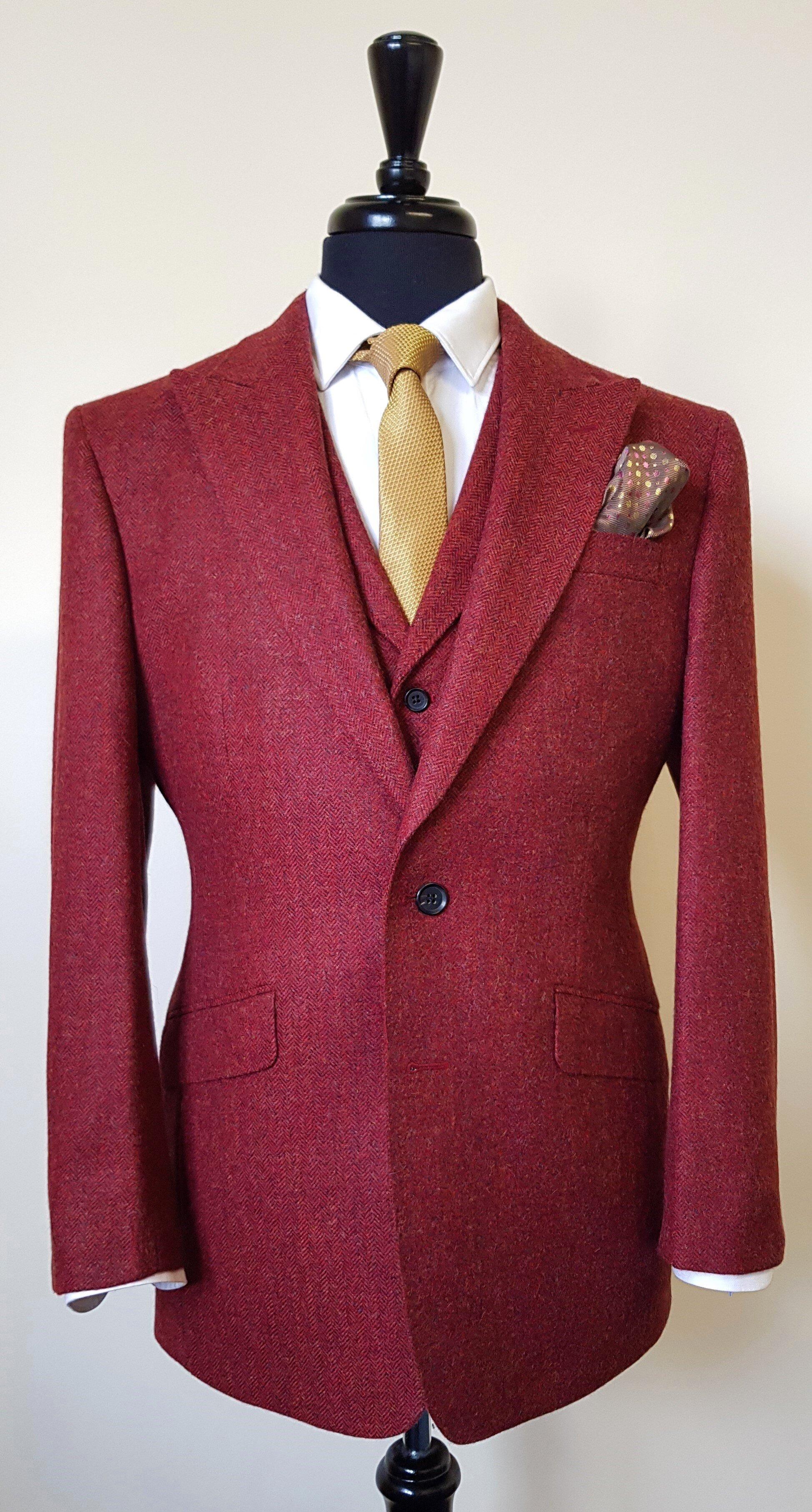 Raspberry Herringbone 3 Piece Tweed Suit (4).jpg