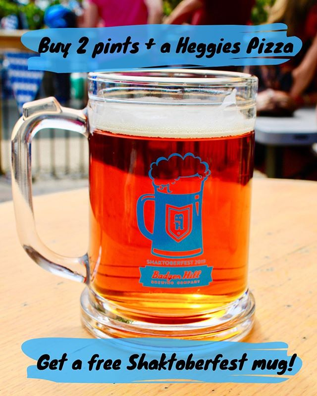 Seriously! 2 pints + 1 @heggiespizza = a free #shaktoberfest2019 mug! Get them before they are gone! 🍺🍺🍺