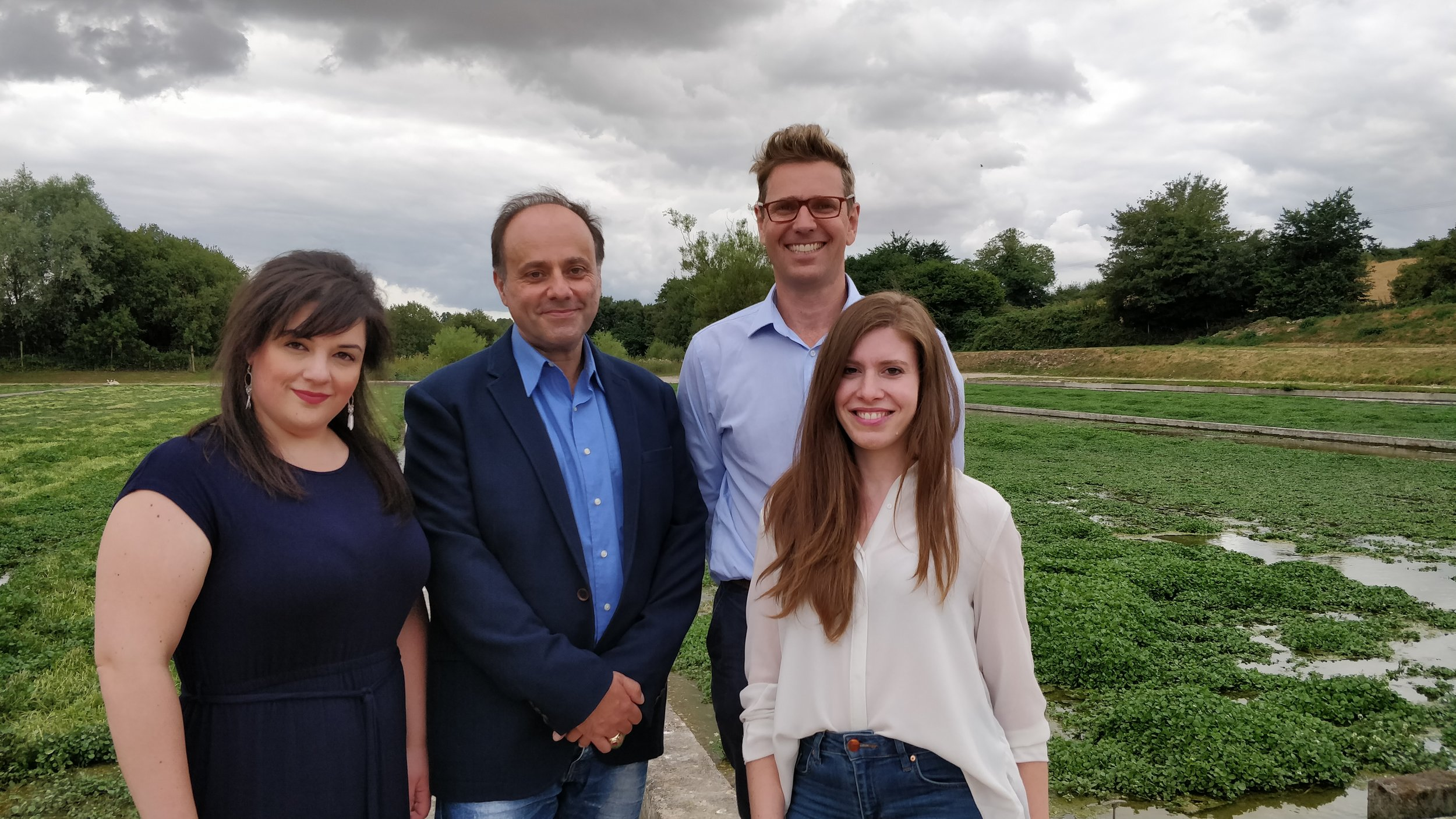 Professor  Professor Mihalis Panagiotidis in Northumbria University  during a visit to Manor Farm, New Alresford in July 2018. Left to right PHD student Melina Mitsiogianni, Professor Mihalis Panagiotidis, Tom Amery, MD of The Watercress Company and PHD student Vasiliki Lolou