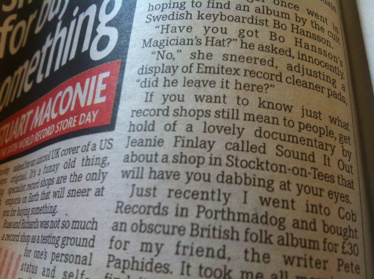 Stuart Maconie in Daily Mirror