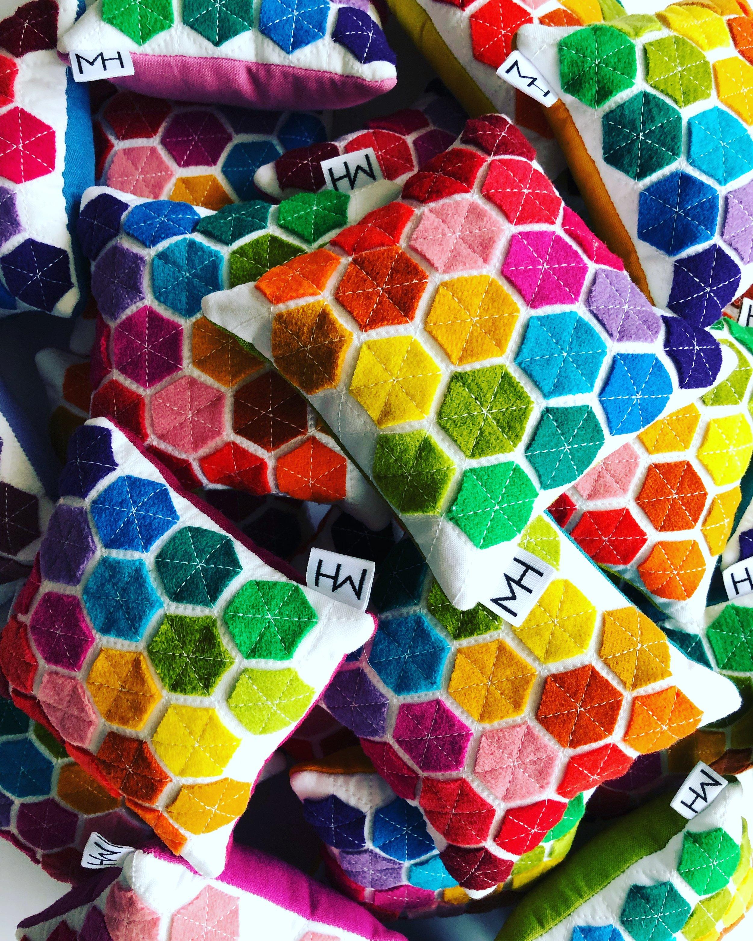 Wool Felt Hexie Pin Cushions / Modern Handcraft