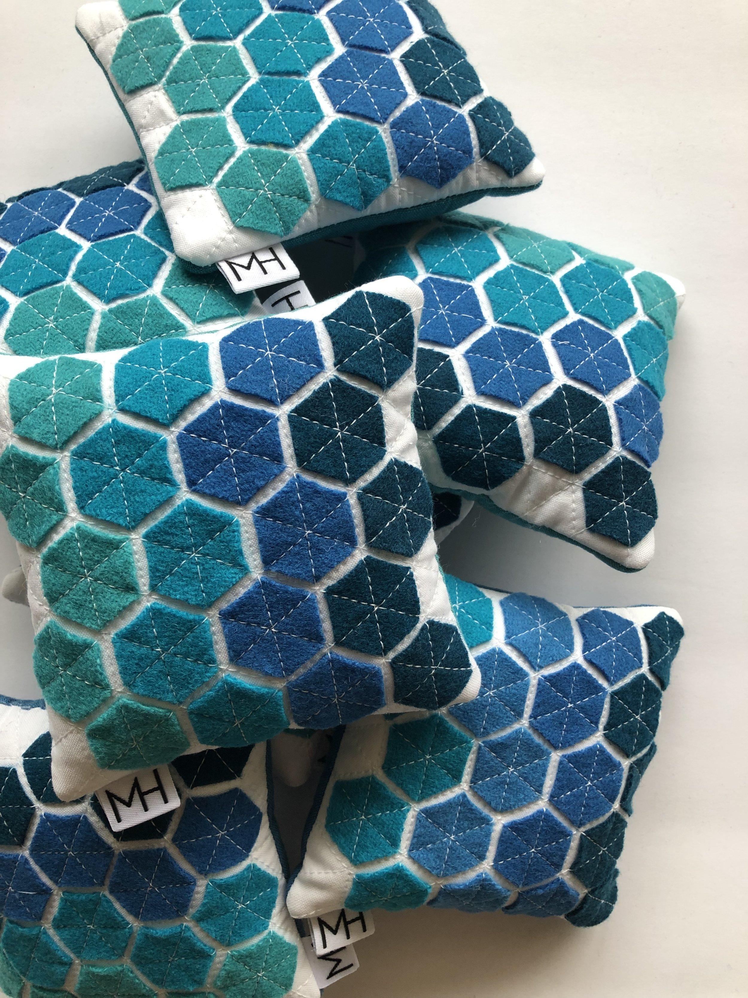 Wool Felt Hexie Pin Cushions // Modern Handcraft