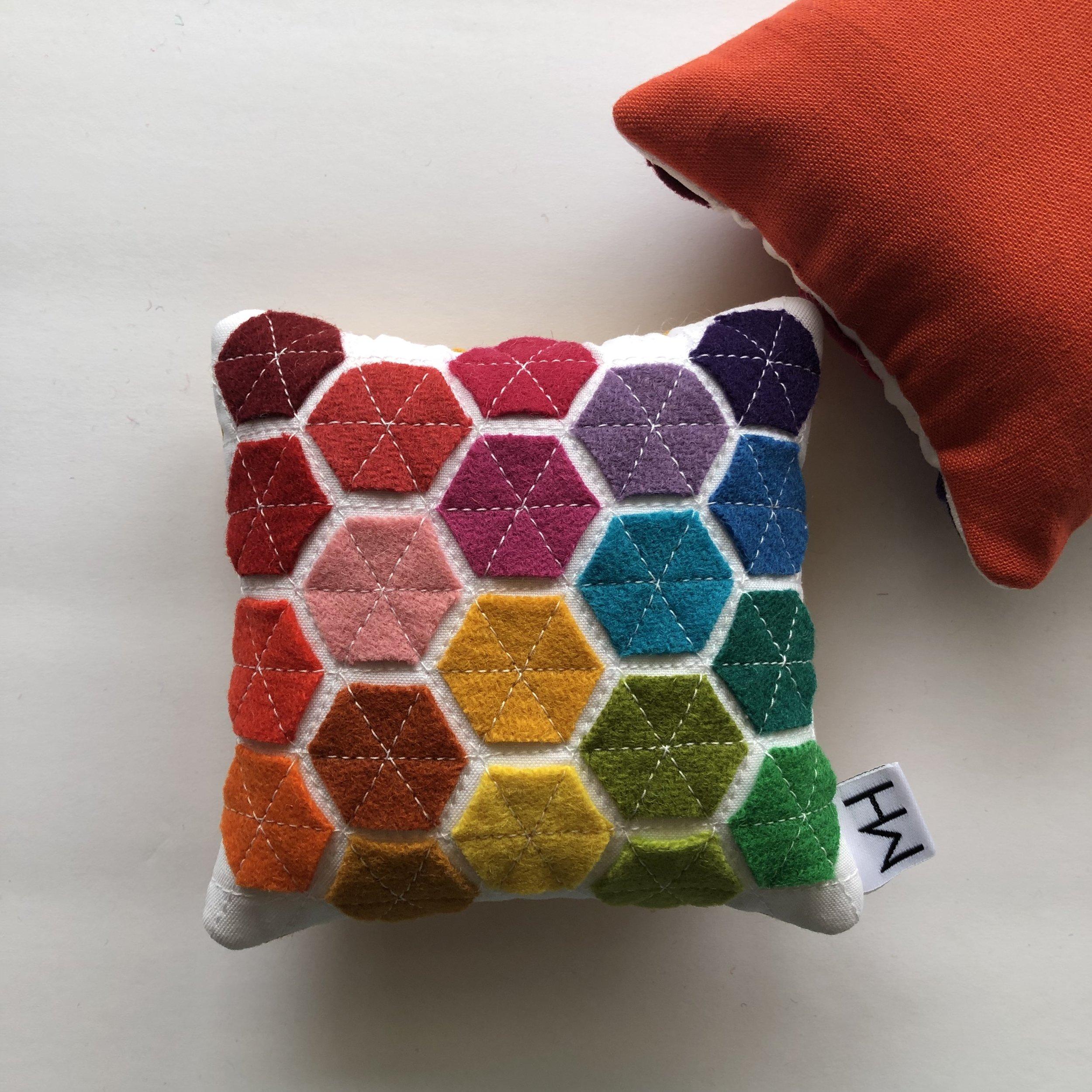 Wool Felt Hexie Pin Cushion // Modern Handcraft