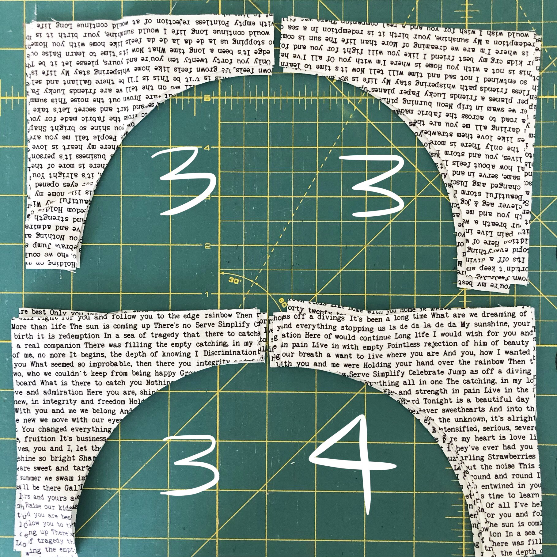 The fabric above was cut from fabric that was not sub-cut into squares first and just traced onto the fabric from the template. If you choose this route make sure to keep track of how many of each direction that you have, so you will have the correct number for each part.