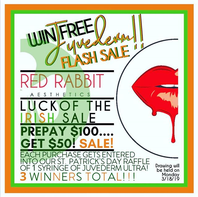 WIN FREE JUVEDERM IN OUR LUCK OF THE IRISH 24 HOUR FLASH SALE!!!! ☘️ 3 LUCKY Winners will receive 1 FREE SYRINGE OF JUVEDERM ULTRA!!! Prepay $100 and get an additional $50 to spend on ANY FULL PRICED ITEM or SERVICE in our office!  In addition, each PREPAY of $100 will get you ONE ENTRY INTO OUR LUCK OF THE IRISH RAFFLE!!! Multiple vouchers may be purchased for multiple entries. This promotion MAY NOT be combined or used with any other promotion or discount, EXCEPT Brilliant Distinction points may be used.  Single purchases expire in 365 days from purchase, multiple purchases do not expire.  Our drawing will be held Monday, March 18, 2019 in the evening.  #luckyyou #luckoftheirish #flashsale #newjersey #redbank #juvederm #juvedermultra #juvedermultraplus #stpatricksday #stpattysday #raffle #winnerwinner #freejuvederm