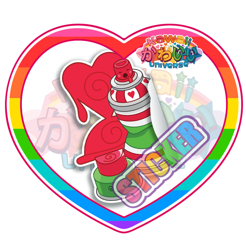 Kawaii Universe - Cute Red Spray Paint Can Sticker