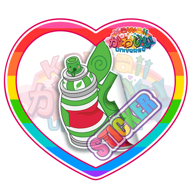 Kawaii Universe - Cute Green Spray Paint Can Sticker