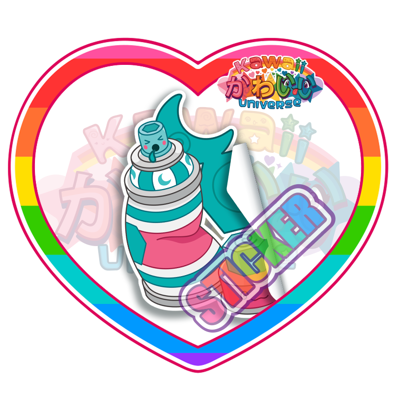 Kawaii Universe - Cute Teal Spray Paint Can Sticker