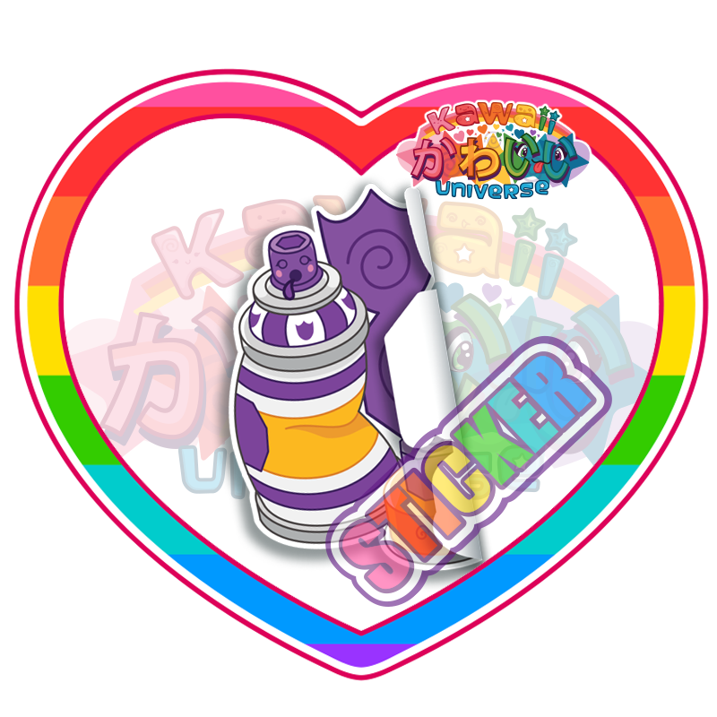 Kawaii Universe - Cute Purple Spray Paint Can Sticker