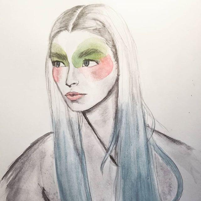 Swipe to see line art and model •••• I hardly ever touch watercolor, but i was inspired •••• @euphoria @hunterschafer @zendaya #euphoria #watercolor #julesvaughn #hunterschafer #stlartist