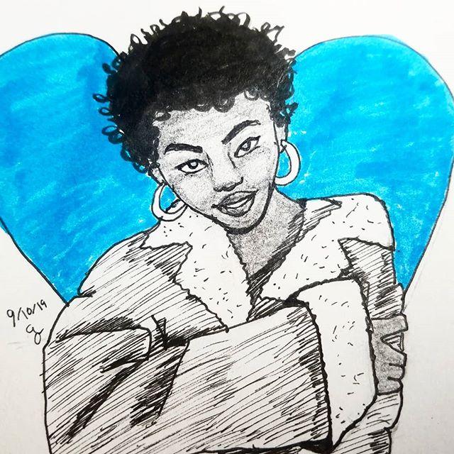 #laurynhill #penillustration #blue #blackandwhite #stlartist #portraitdrawing