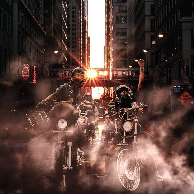 """Smokey Bikes"". Check the other photos to see my process. #photoshopedit #digitalart #photoediting"