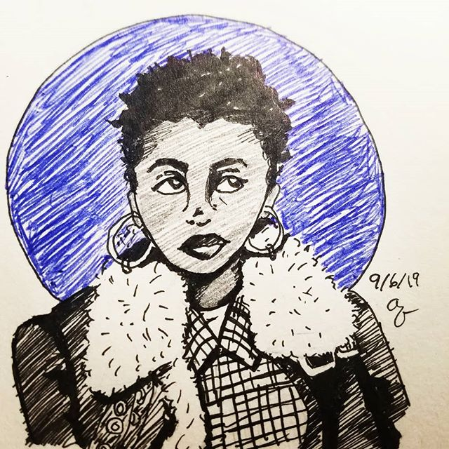 I'm giving in to the Fall Vibes 🧣🍁 #penillustration #portraitdrawing #blackgirlmagic #inking #stlartist