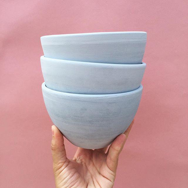 Freshly bisqued set 🥣🥣🥣 . . . . . #porcelain #wheelthrowing #potterywheel #ceramicsofinstagram #ceramics #handmade #handcrafted #handmadewithlove #maker #philadelphiaceramics #queerceramics #blackhoundclay #handmadeinphilly