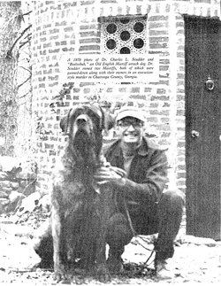 Dr. Scudder and one of the English Mastiffs