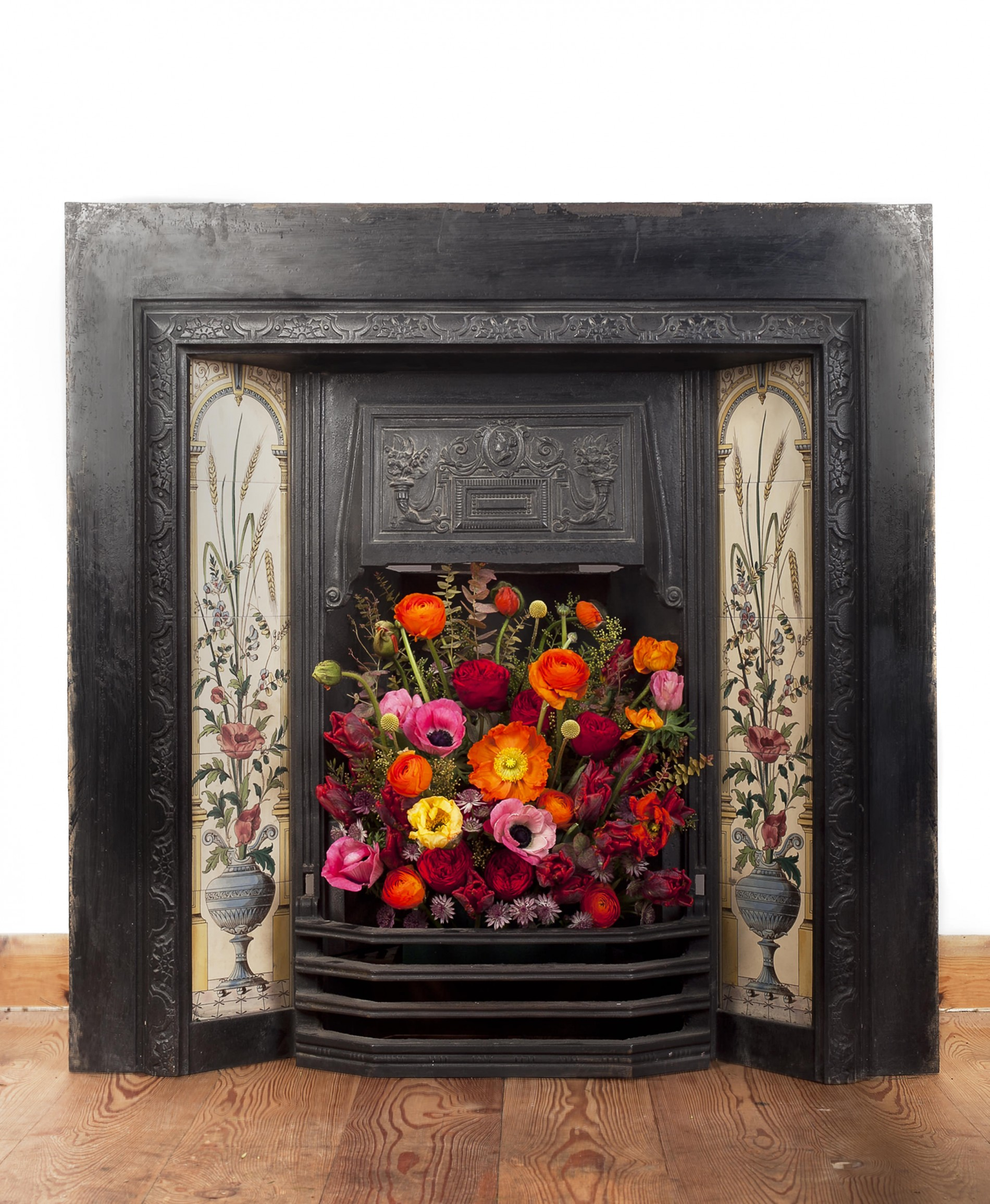 Flowers in a fireplace