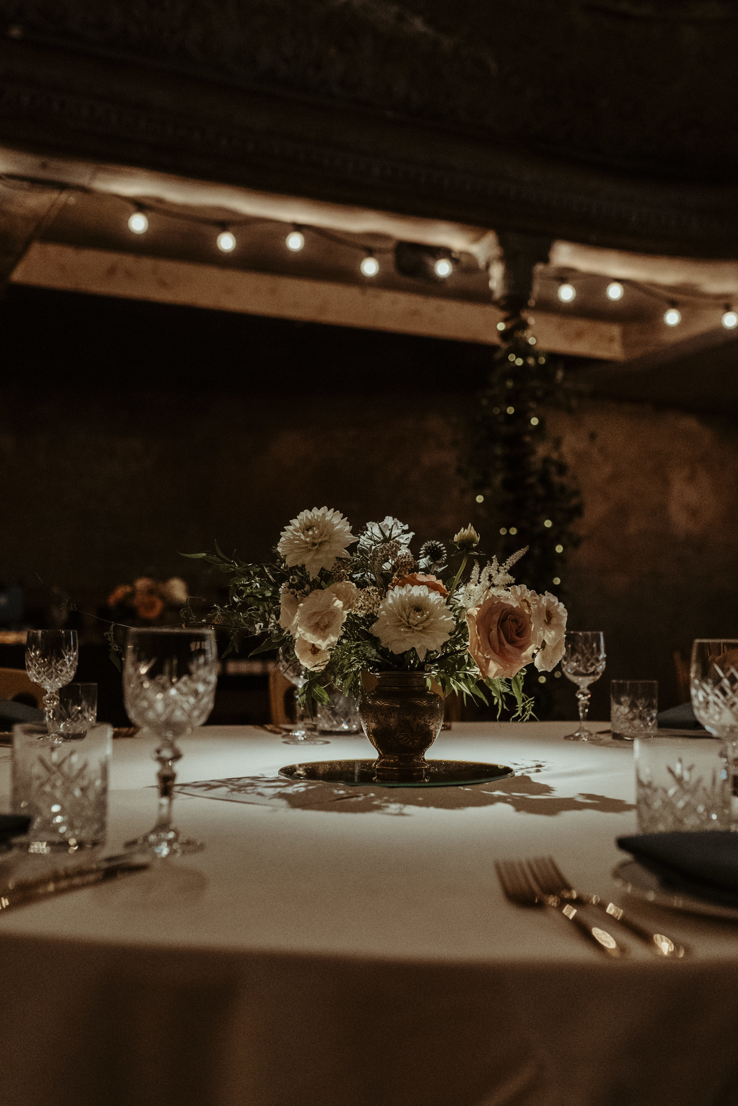 Table centres at Wiltons Music Hall