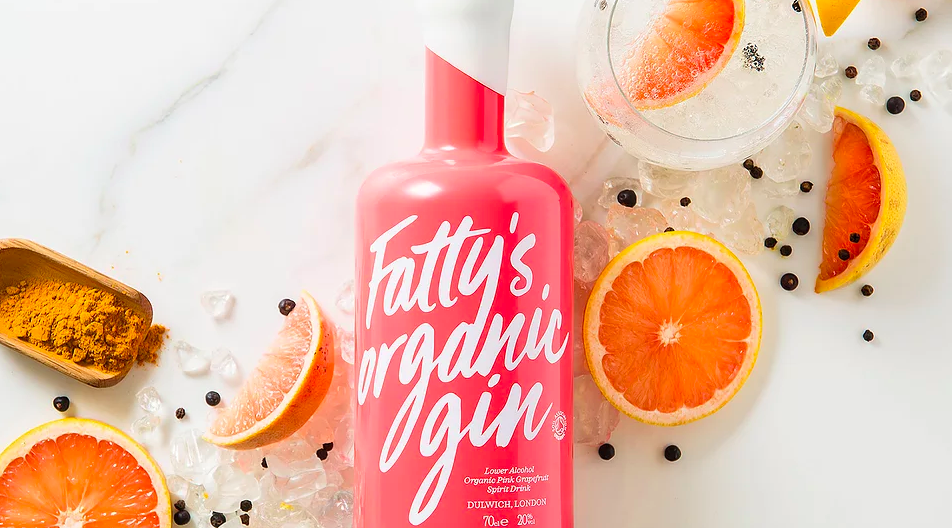 Fresh, organic, small-batch gin produced locally in London by Fatty's Organic Gin. Refreshing and fully recyclable.