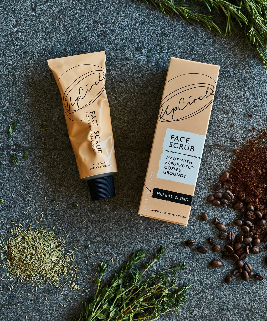 Upcircle Beauty - Founder - Anna & William  Rescuing used coffee grounds destined for landfill to make luxury, plastic-free, vegan and non- scrubs and skincare.