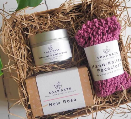 Soap Daze - Founder - Sharon Mitchell  Handmade, vegan and natural soaps with plastic-free packaging. All these items are carefully constructed with both you and the environment in mind.
