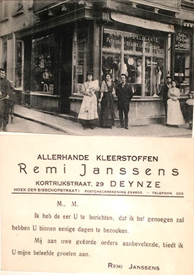 1919 - Remi Janssens grows up between the silk thread bobbins in his father's weaving mill at the Ghent vegetable market, and later starts a shop for 'all kinds of fabrics' in Deinze. There is no such thing as off-the-peg clothing yet, and customers have their fabrics made into tailored costumes, waistcoats, coats and dresses in the store itself.