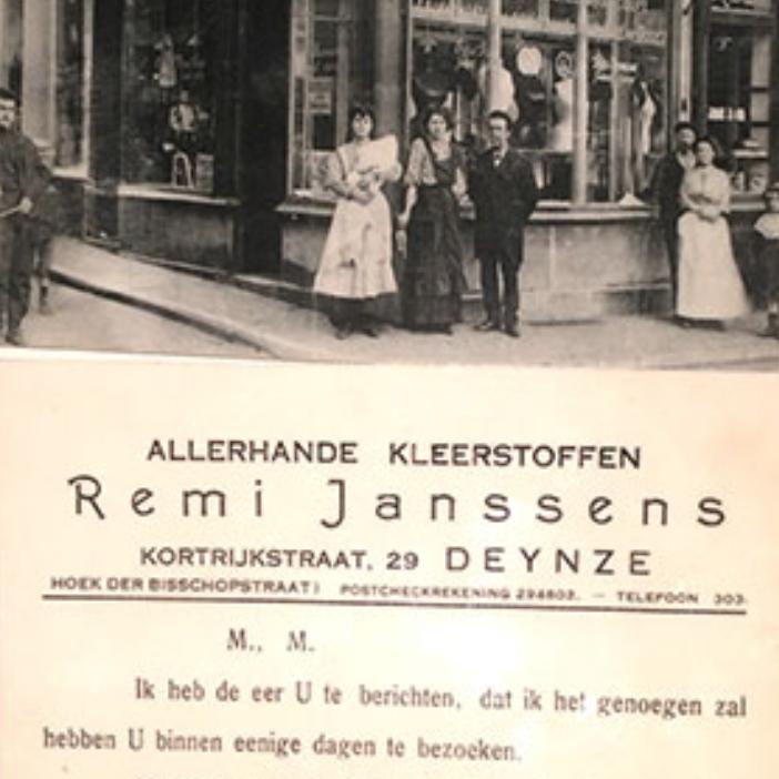 1919 - Remi Janssens groeit op tussen de spoelen zijdedraad in de weverij van zijn vader op de Gentse groentenmarkt, en start later een winkel voor 'allerhande kleerstoffen' in Deinze. Confectiekledij bestaat nog niet, en klanten laten hun stoffen in de winkel zelf verwerken tot pasklare kostuums, tailleurs, mantels en jurken.