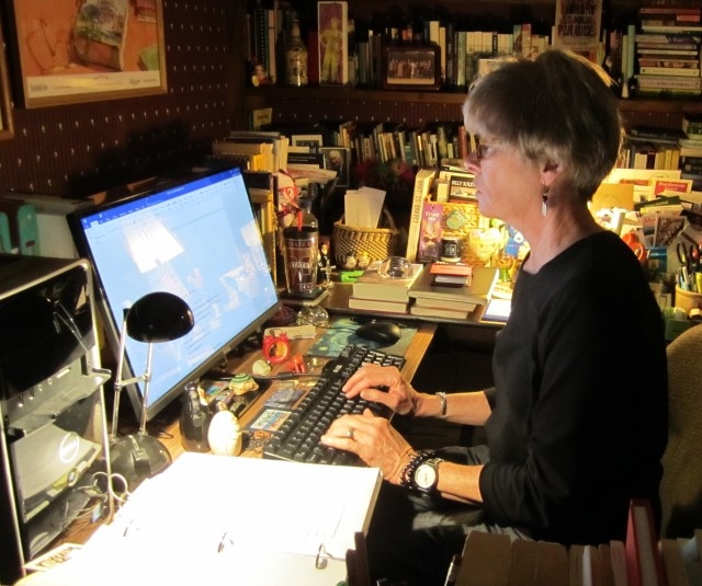 Valerie, hard at work in her home office