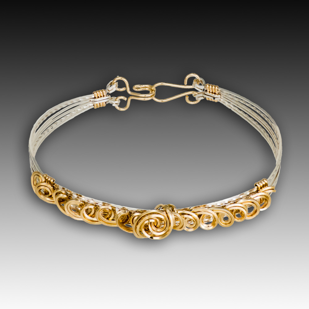 Tendrils Bracelet - Sterling Silver and 14K Gold Filled wire