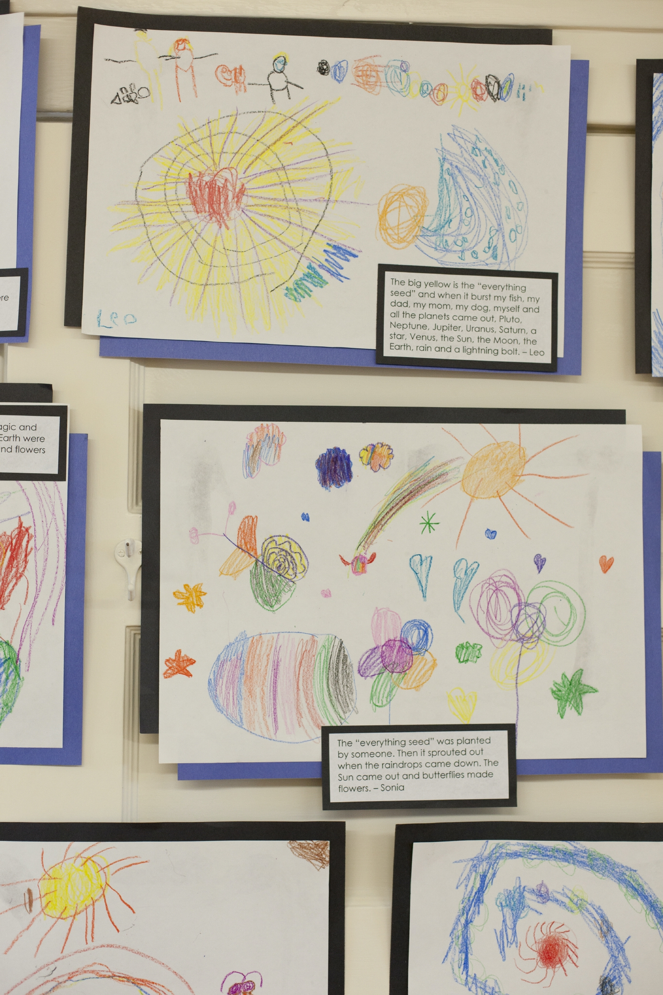 Drawings by Ross Kindergarten students depicting the origin of the universe, created in their Cultural History unit about the origins of life on earth