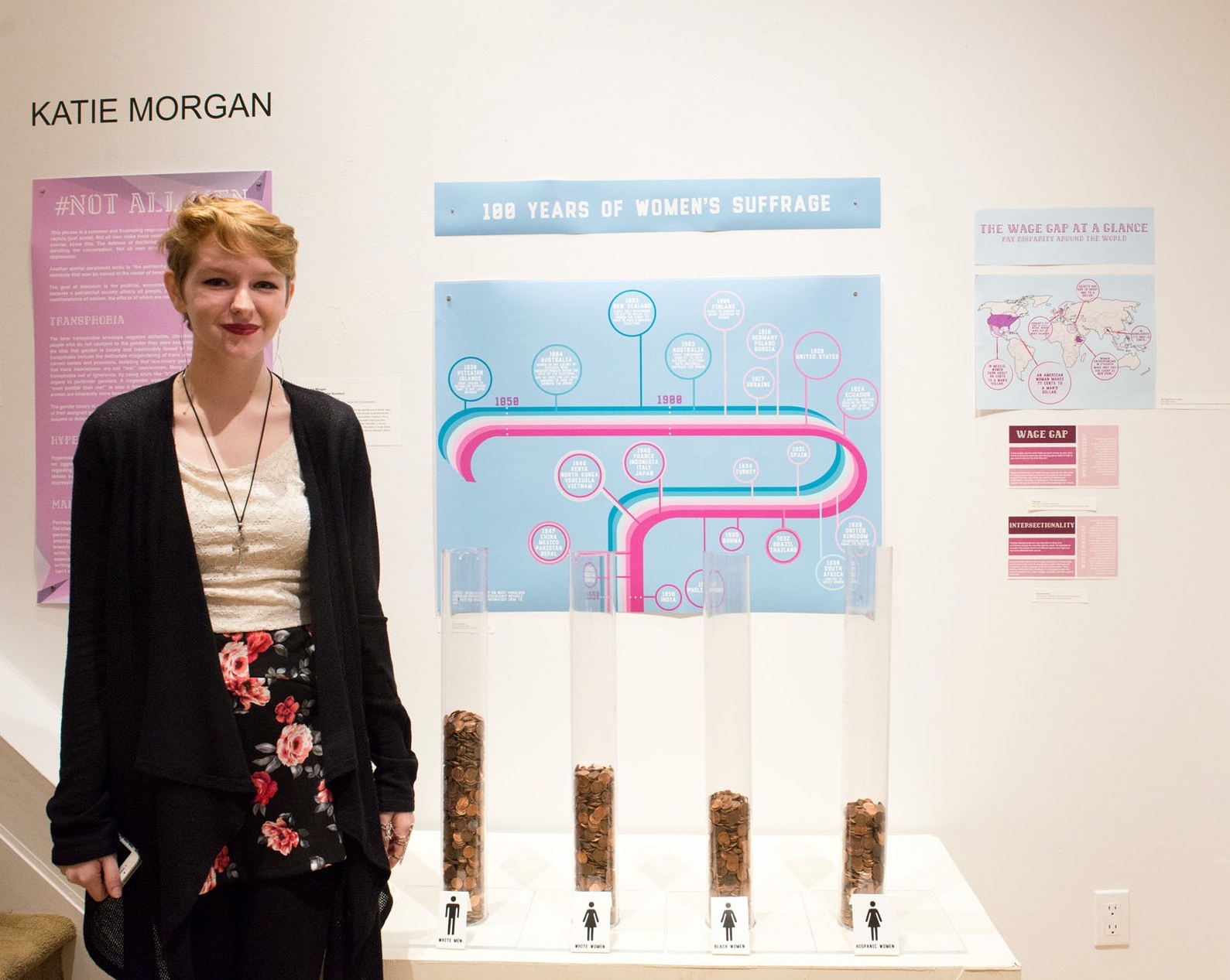 Katie Morgan '16 with her installation and data visualization on gender inequality