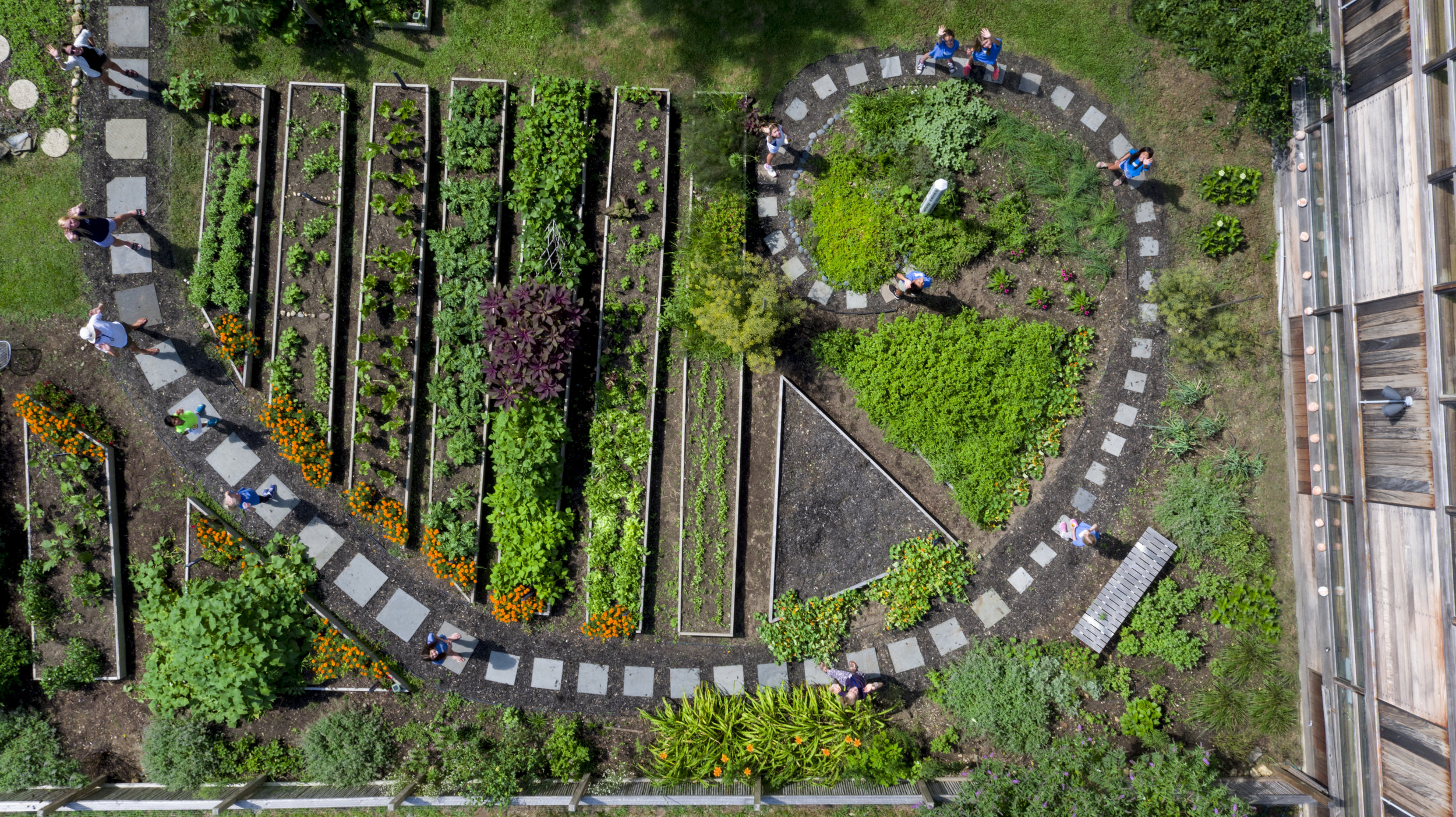 Ross School's Spiral Garden offers hands-on learning opportunities for students and is a source of fresh produce for the Caf é .    Photo by Olga Goworek, 2018