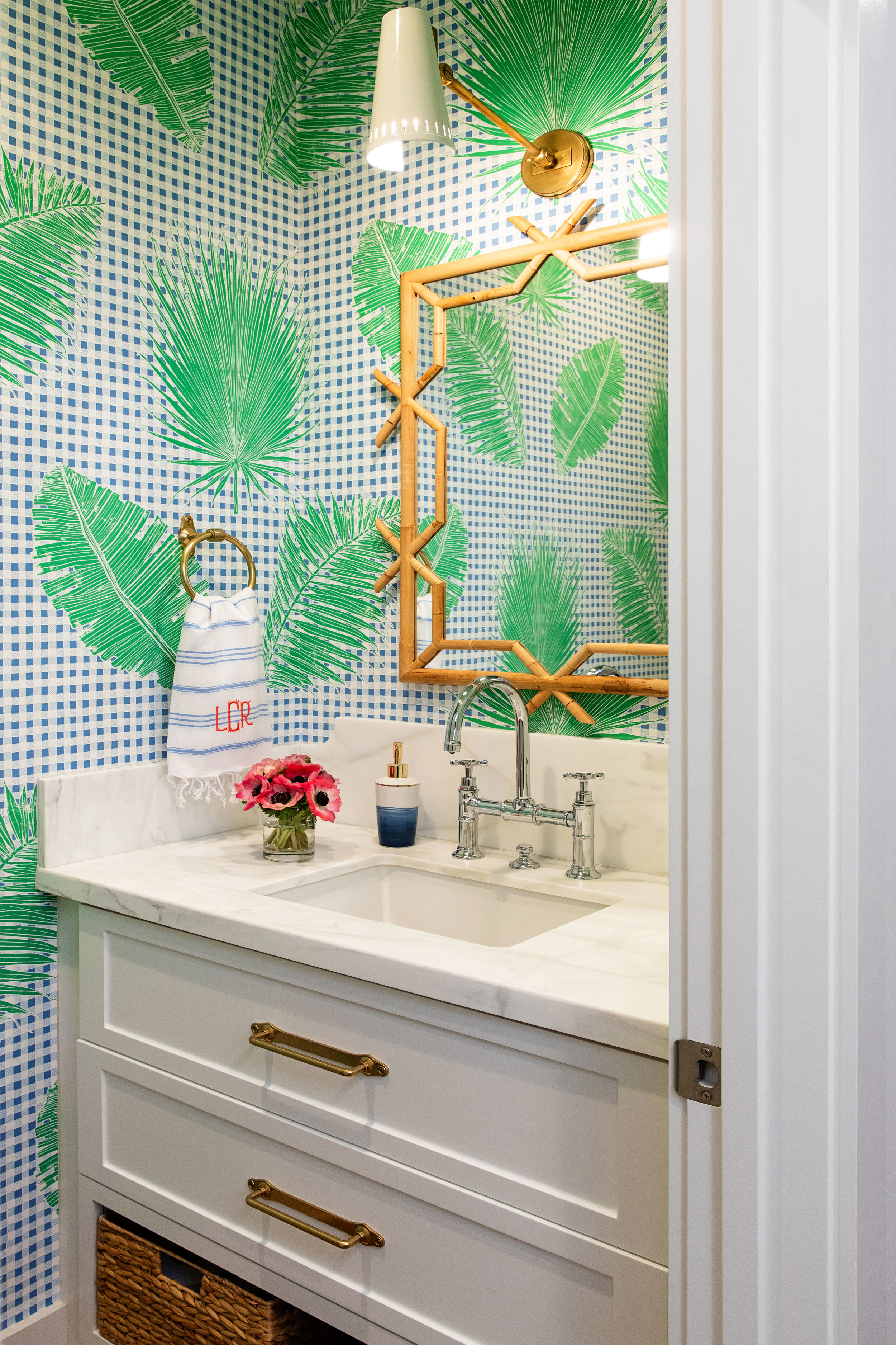 Gingham Jungle Wallpaper in Blue Chip Day  Interiors by Leane Cole; Photo by Jenny Siewgwart
