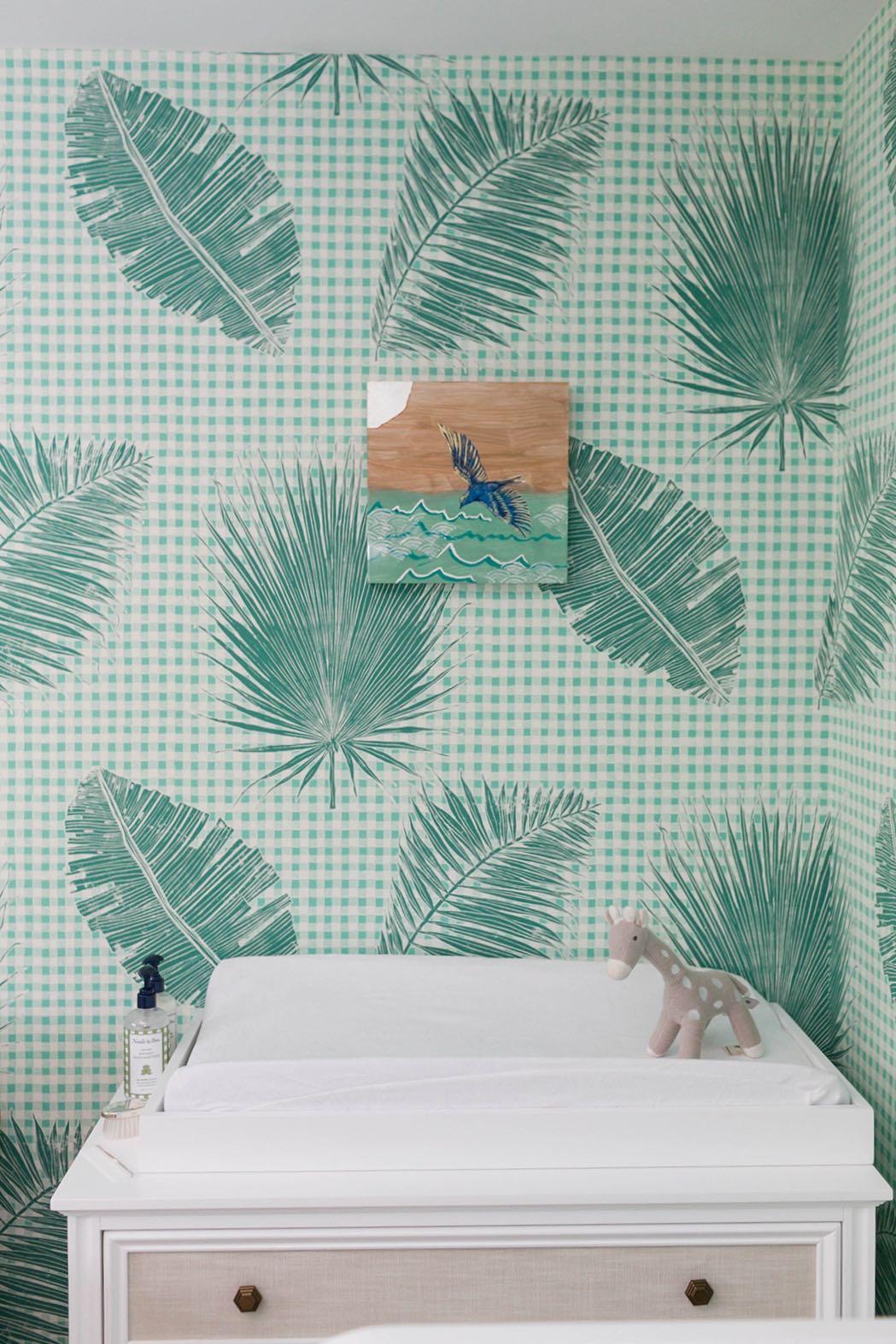 Gingham Jungle Wallpaper in Jade  Interiors by Sharon Lee; Photo by Mekina Saylor