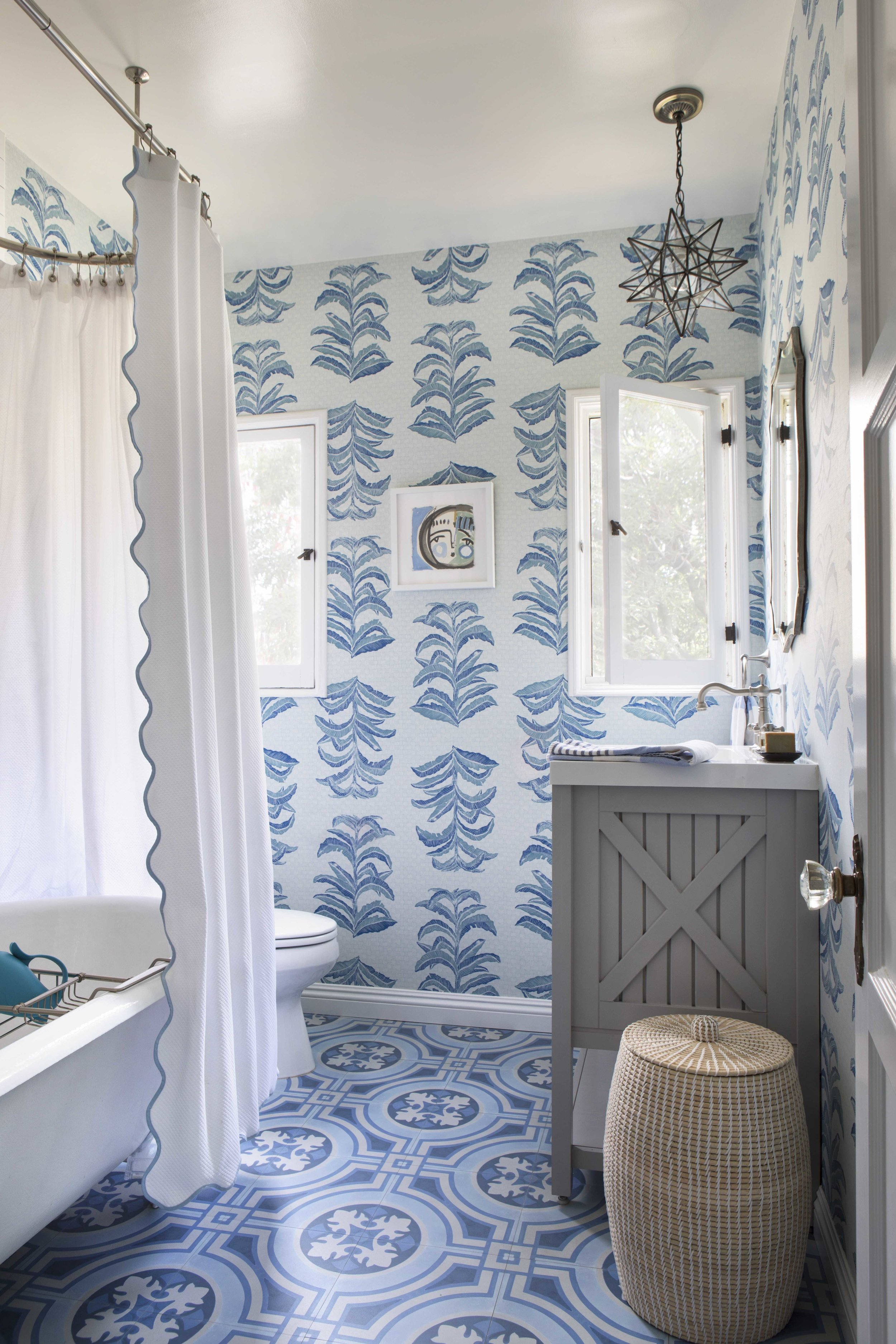 Banana Leaf Wallpaper in Sapphire, Interiors by Paige Pierce, Photo by Karyn Millet