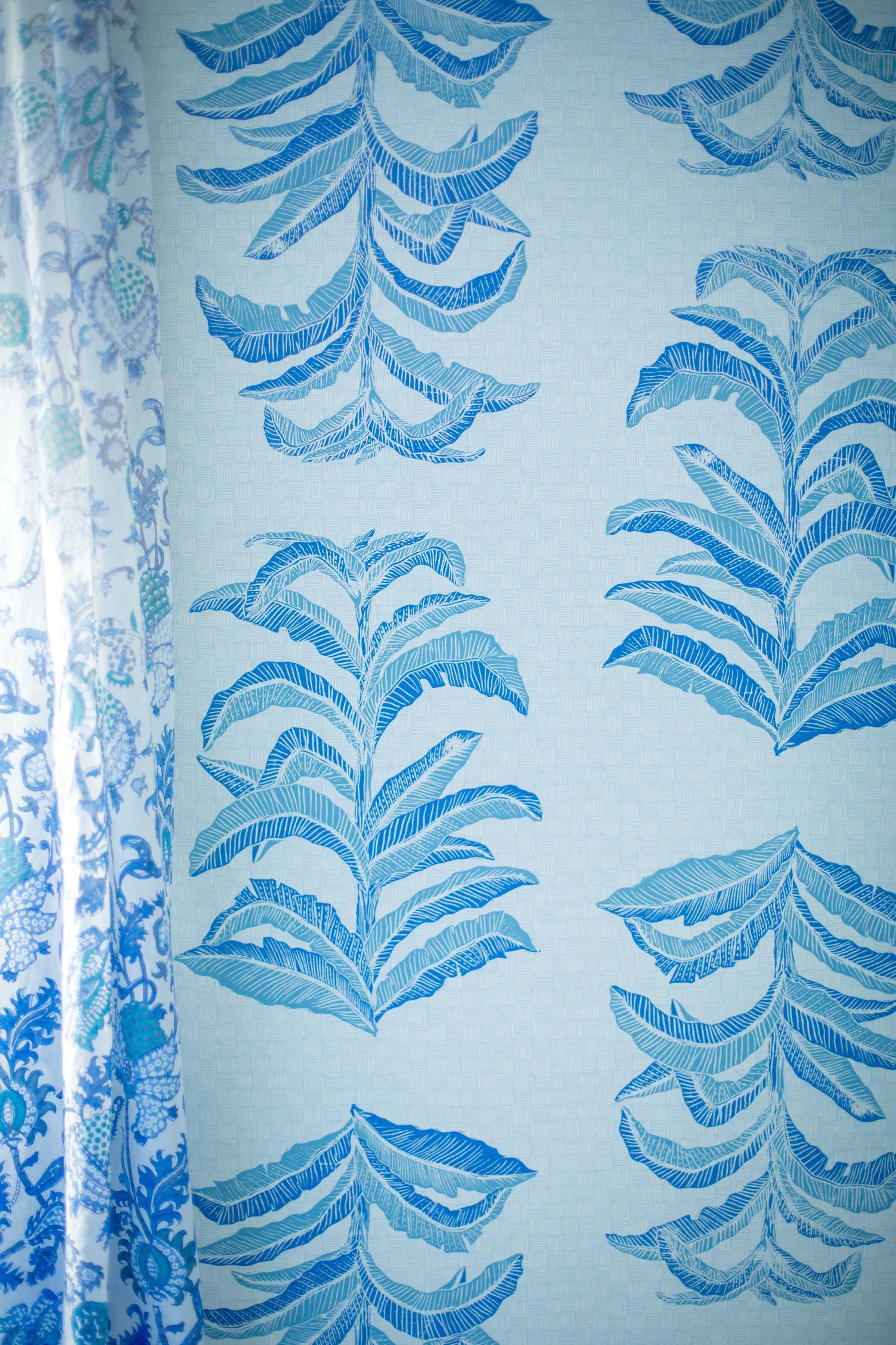 Banana Leaf Wallpaper in Sapphire, Photo by Benjamin Hoffman