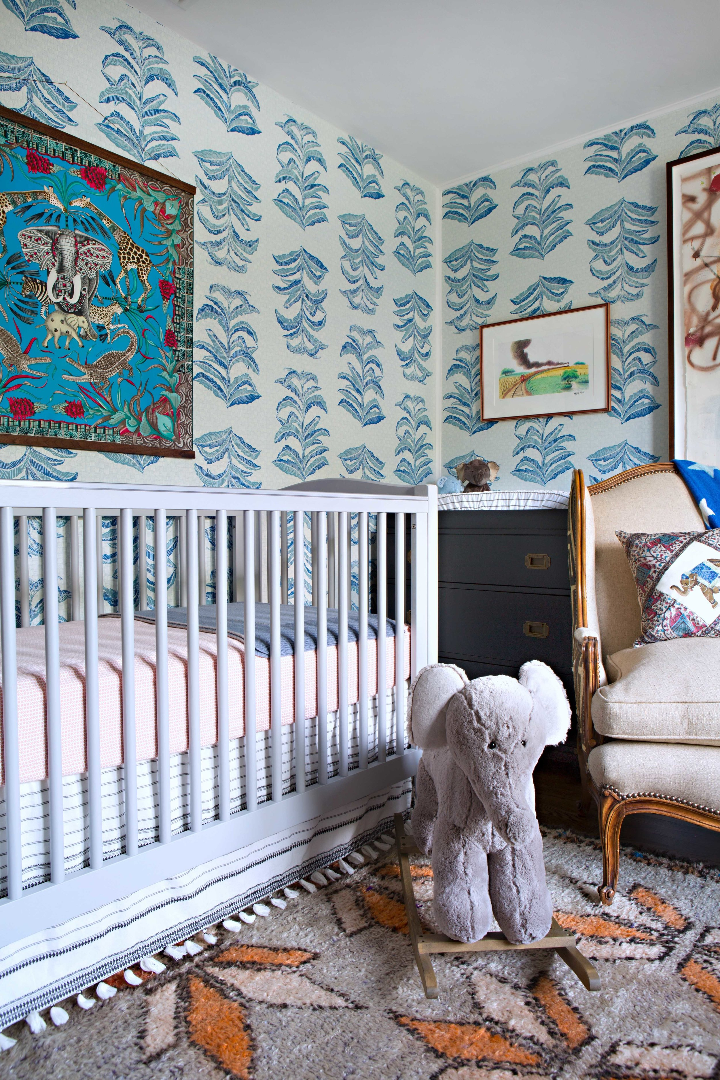 Banana Leaf Wallpaper in Sapphire, Interiors by Sharon Lee, Photo by Karyn Millet