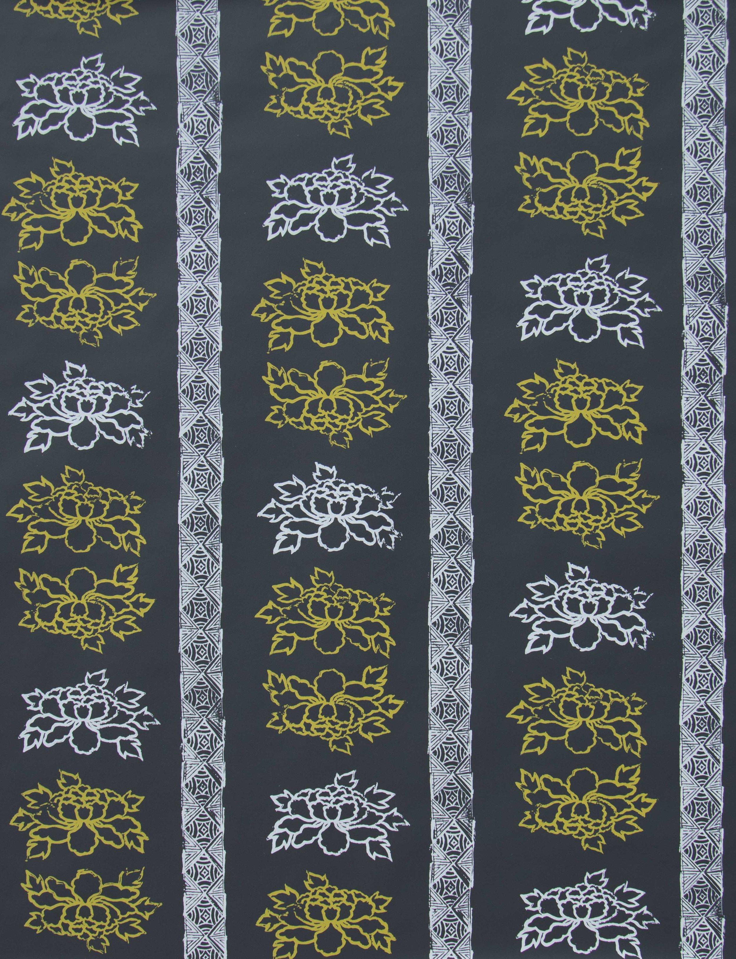 Floral Stripe in Night Lemon, SL140-04