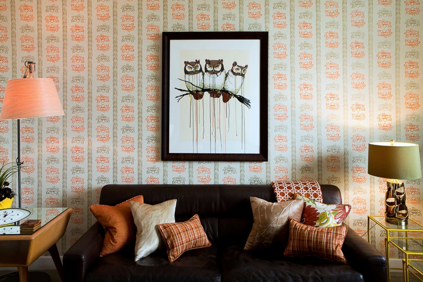 Floral Stripe Wallpaper in Tangerine, Office of Dr. Michelle Golland, Photo by Benjamin Hoffman