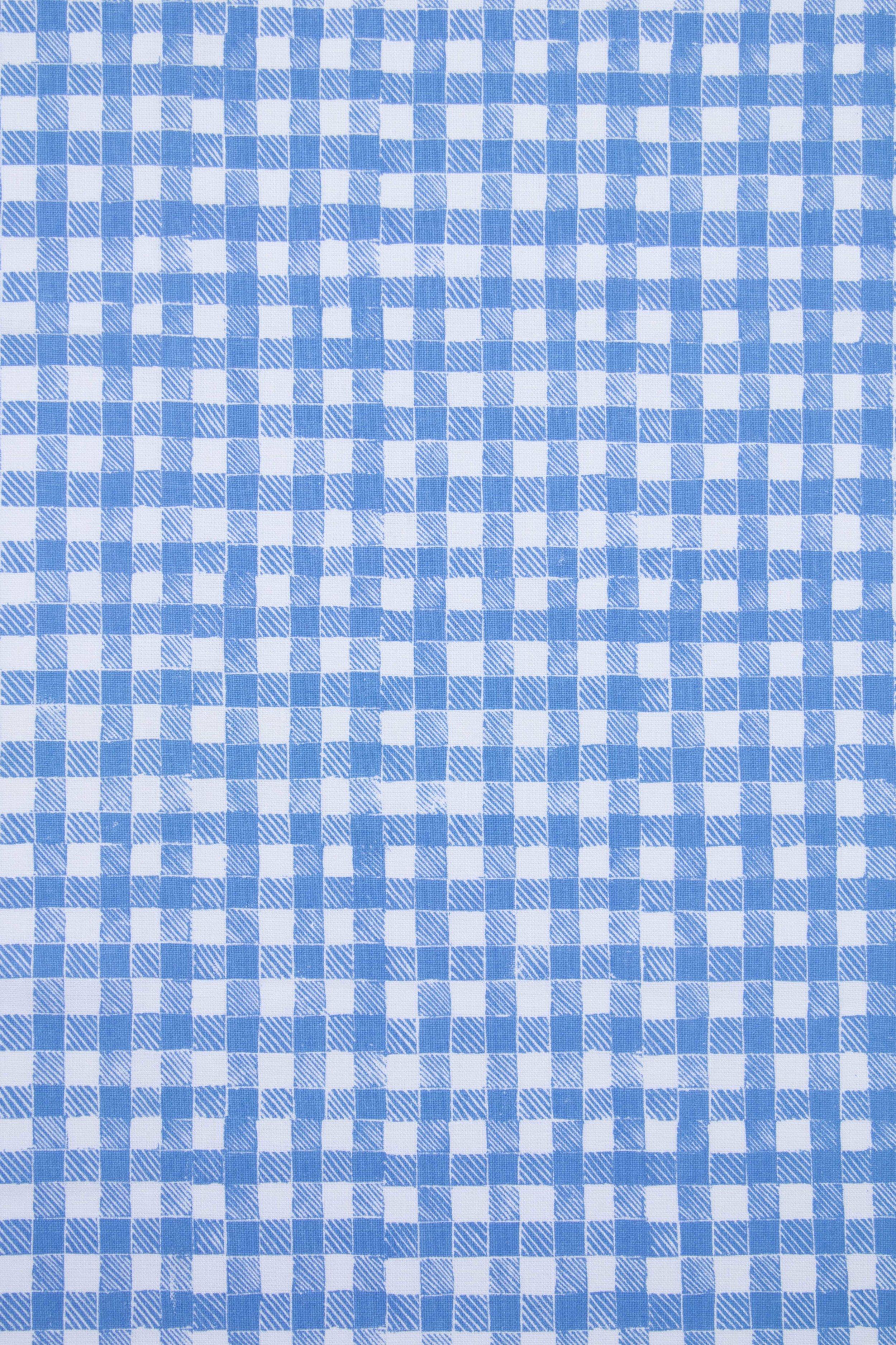 Block Print Gingham in Blue, KF250-01