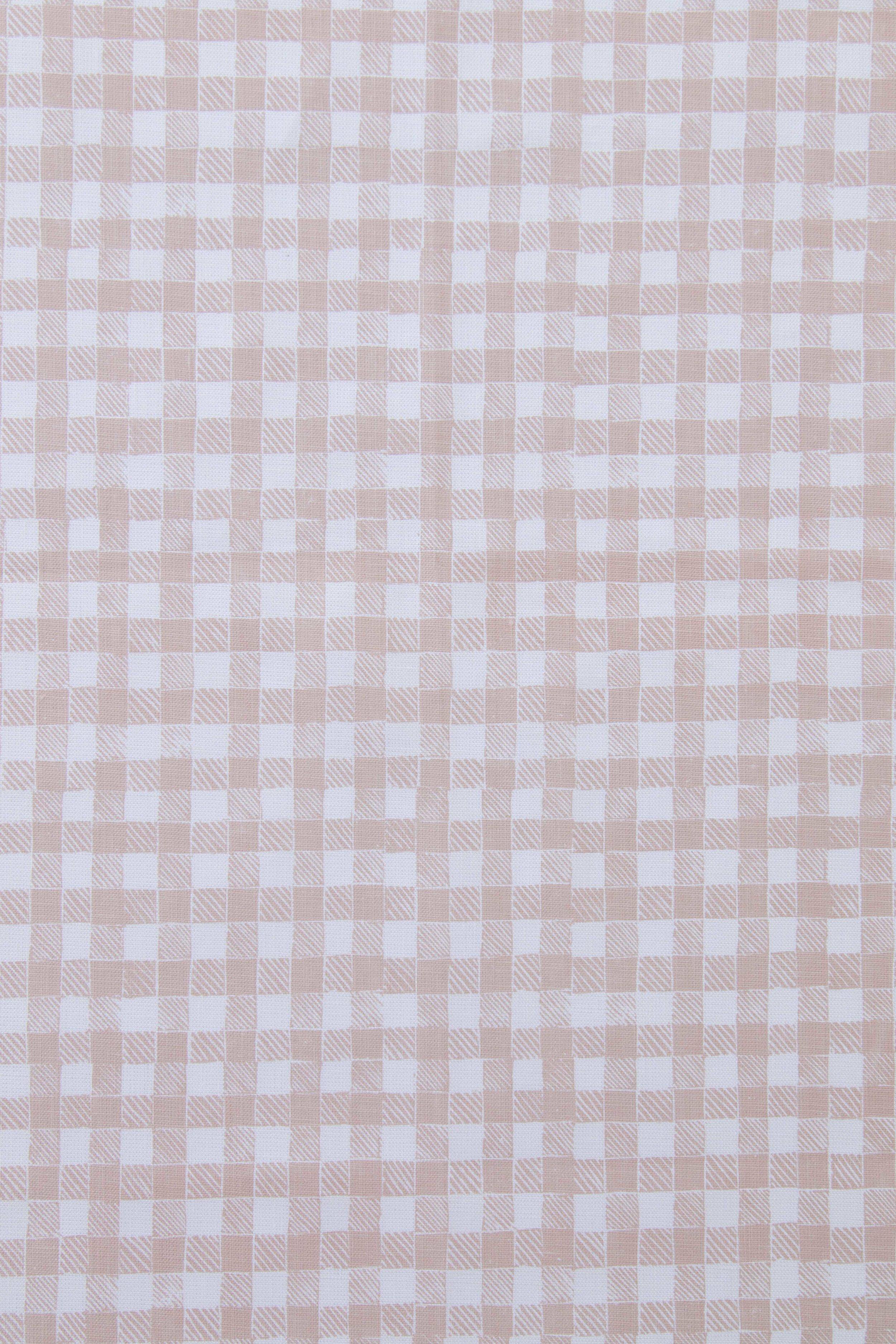 Block Print Gingham in Beige, KF250-04