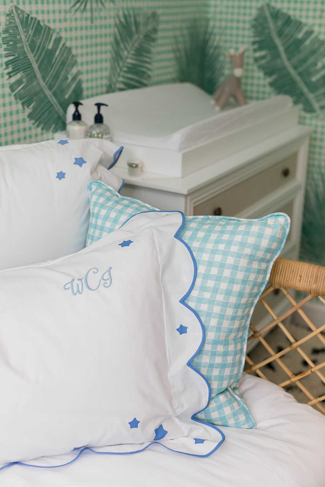 Block Print Gingham Pillow in Light Blue, Interiors by Sharon Lee, Photo by Mekina Saylor