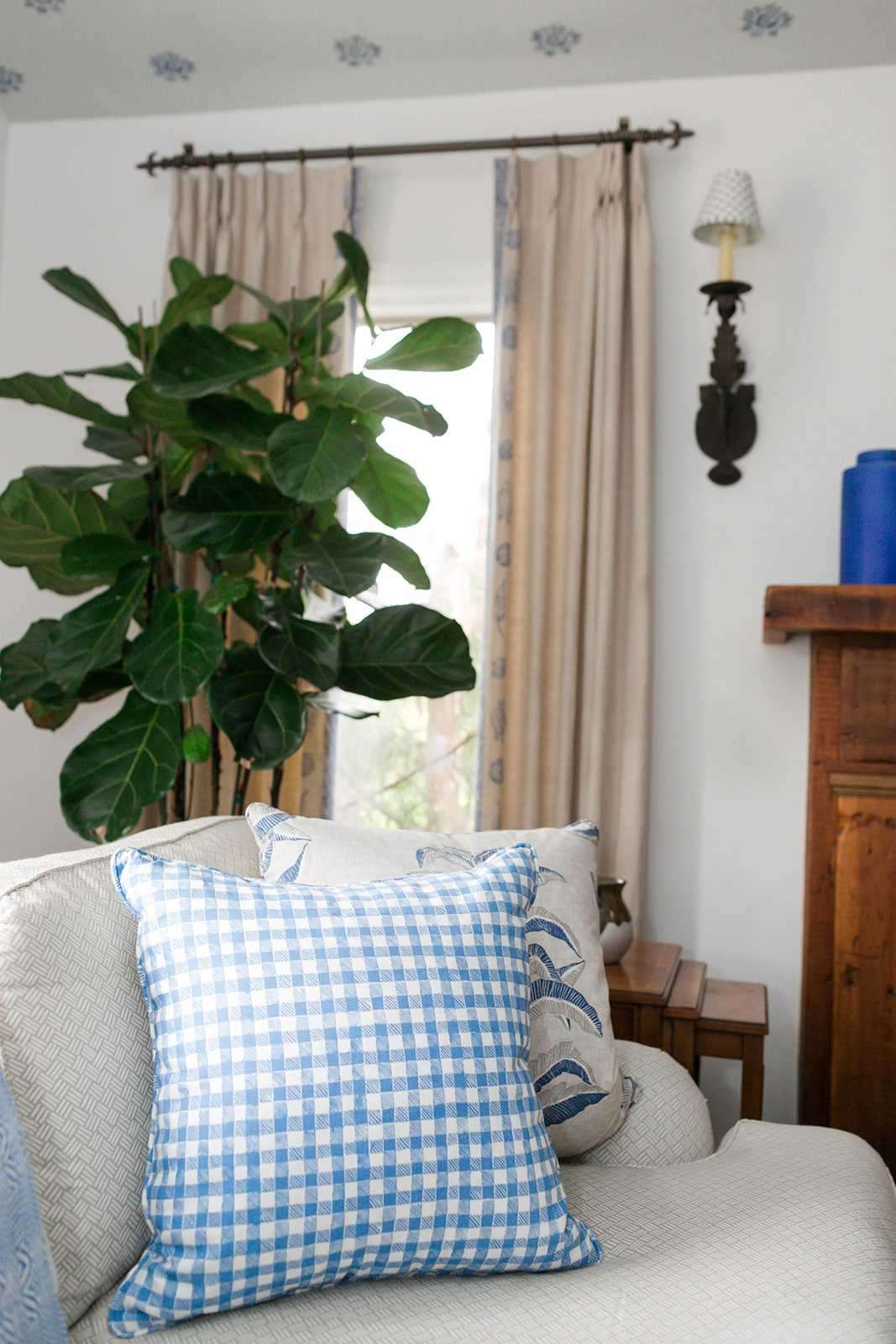 Block Print Gingham Pillow in Blue, Interiors by Sharon Lee, Photo by Mekina Saylor