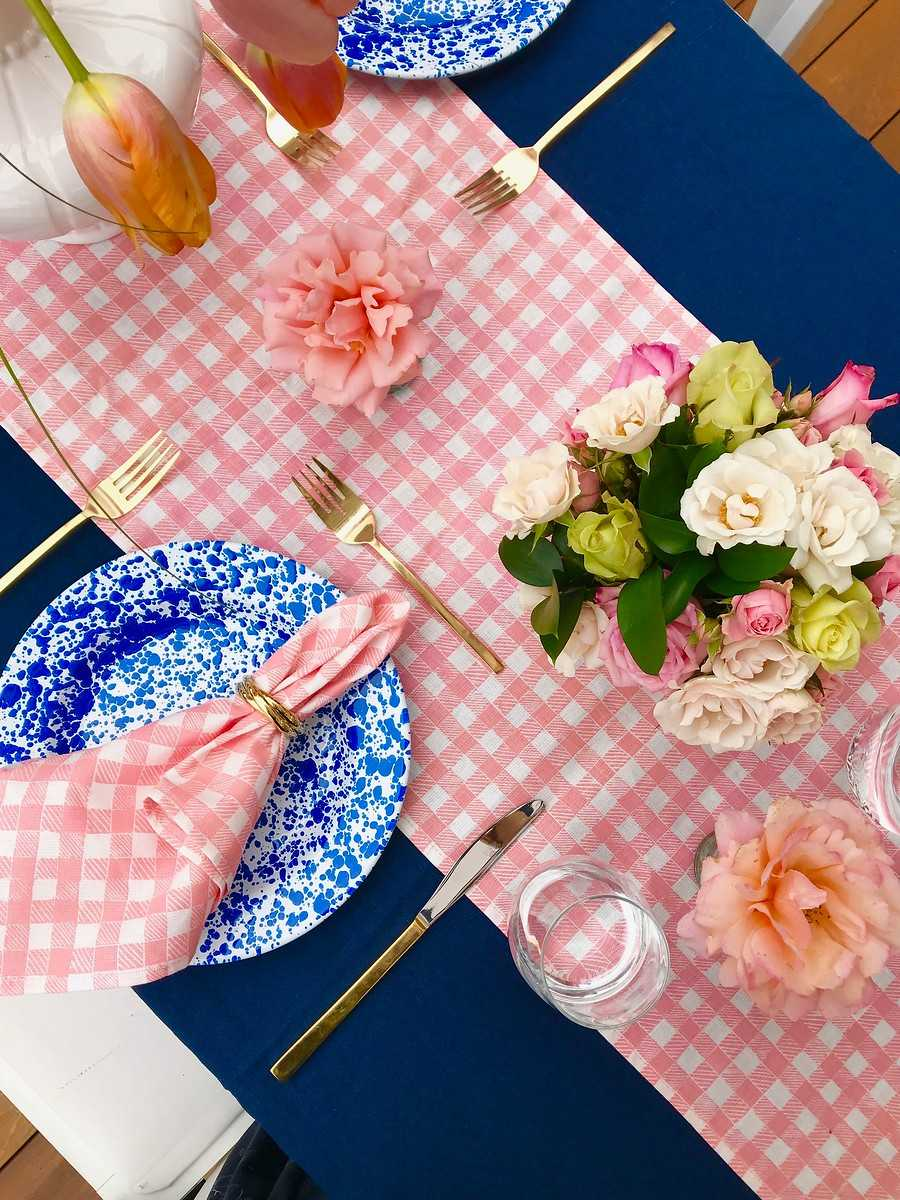 Block Print Gingham Fabric in Pink, Florals and Styling by Darlington Avenue