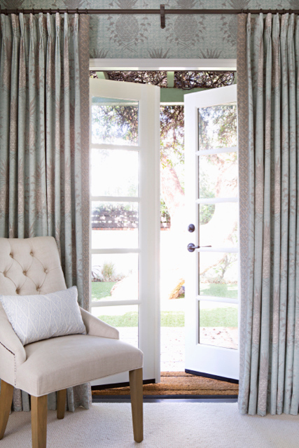 Royal Pineapple Fabric in Celadon, Interiors by Sharon Lee, Featured in House Beautiful, Photo by Karyn Millet